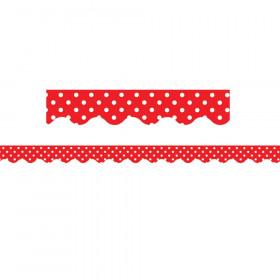 Red Mini Polka Dots Border Trim