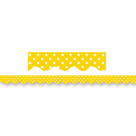 Yellow Mini Polka Dots Border Trim, 35 Feet