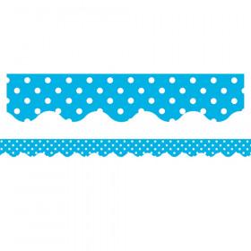 """Mini Polka Dots Border Trim, Aqua, 2-3/16"""" x 35"""", 12/pkg"""