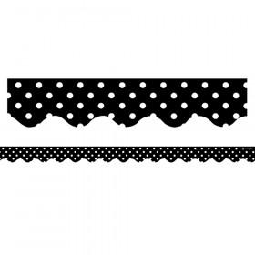 Black Mini Polka Dots Border Trim