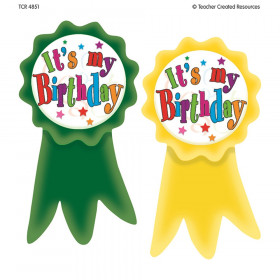 Birthday Ribbons Wear 'Em Badges, Pack of 16