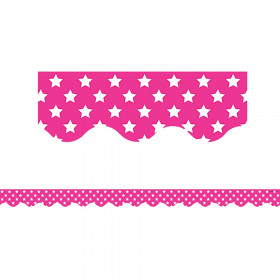 Pink with White Stars Scalloped Border Trim