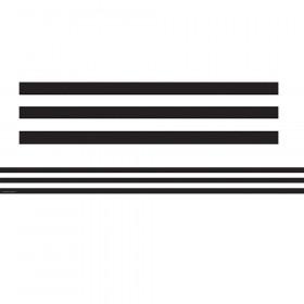 Black & White Stripes Straight Border Trim