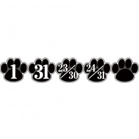 Black Paw Prints Calendar Days