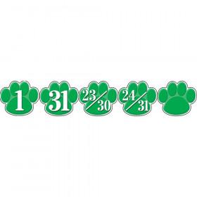 Calendar Days Green Paw Prints