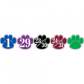 Colorful Paw Prints Calendar Days