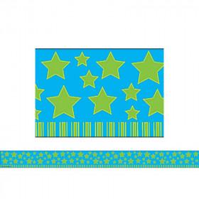 Lime Stars On Blue Straight Border Trim