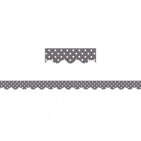 Gray Mini Polka Dots Scalloped Border Trim