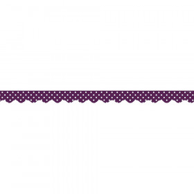 Eggplant Mini Polka Dots Scalloped Border Trim