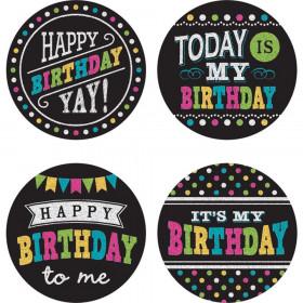 Chalkboard Brights Happy Birthday Wear 'Em Badges, Pack of 32