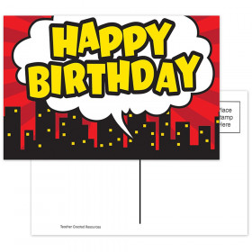 Superhero Happy Birthday Postcard, Pack of 30