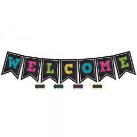 Chalkboard Brights Pennants Welcome Bulletin Board