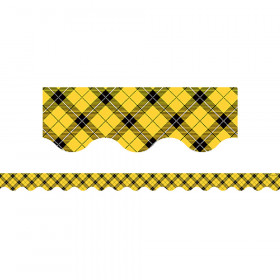 Yellow Plaid Scalloped Border Trim