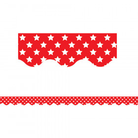 Red with White Stars Scalloped Border Trim