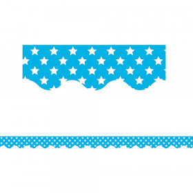 Aqua with White Stars Scalloped Border Trim