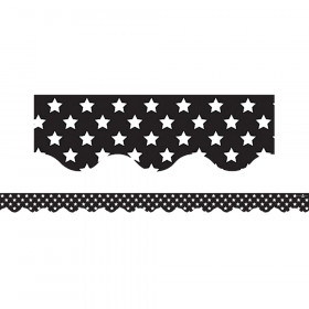 Black with White Stars Scalloped Border Trim