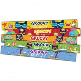 Pete the Cat Groovy Birthday Slap Bracelets, Pack of 10