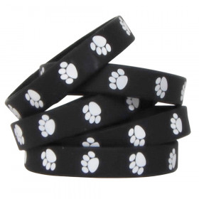 Black with White Paw Prints Wristband Pack, 10/pkg
