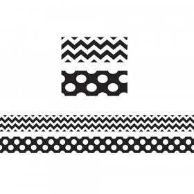 Black & White Chevrons Double-Sided Border, 36 Feet