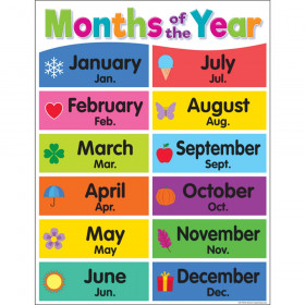 """Colorful Months of the Year Chart, 17"""" x 22"""""""