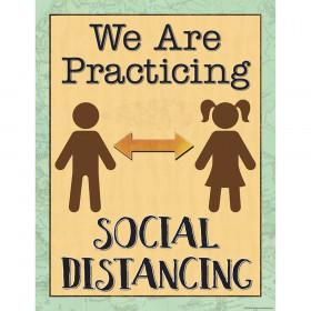 """Travel the Map We are Practicing Social Distancing Chart, 17"""" x 22"""""""