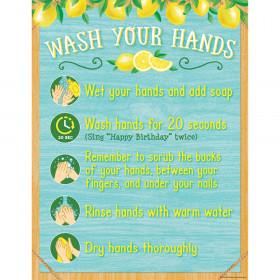"""Lemon Zest Wash Your Hands Chart, 17"""" x 22"""""""