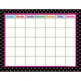 Black Polka Dots Calendar Chart