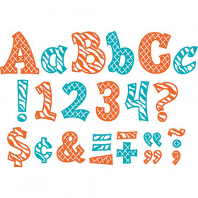 "Orange & Teal Wild Moroccan 3"" Sassy Font Letters"