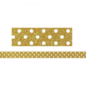 Gold With White Polka Dots Strips Clingy Thingies