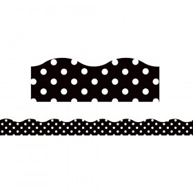 Black Polka Dots Scalloped Borders Clingy Thingies