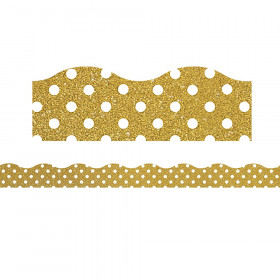 Clingy Thingies Border, Gold Shimmer with White Polka Dots