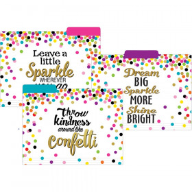 Confetti File Folders, Letter Size, Pack of 12