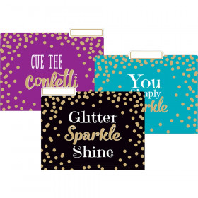 Gold Foil Confetti File Folders, Letter Size, Pack of 12