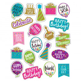Confetti Happy Birthday Stickers, Pack of 120