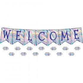 Iridescent Pennants Welcome Bulletin Board