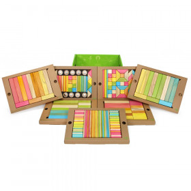 Magnetic Wooden Blocks, 240-Piece Classroom Kit, Tints