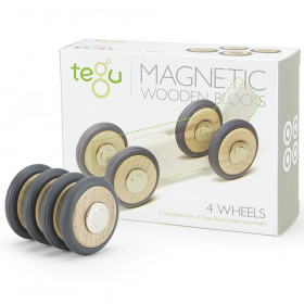 Magnetic Wooden Blocks, Wheels Accessory, 4-Pack