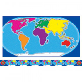 Borders W/ Corners World Map & Compass