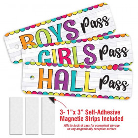 DIY Dots Design- 3 Plastic Passes in each pack: 1-Boy, 1- Girl, 1- Hall. Includes 3- Adhesive Magnetic Strips to adhere to the back of the passes to make them suitable for storage on all Magnetic Receptive Surfaces