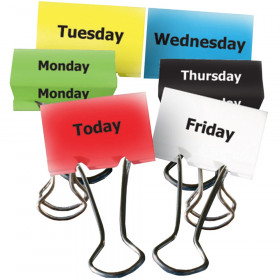 """Days of the Week Binder Clips, 2"""", Pack of 6"""