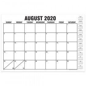"""B&W Basic Academic Calendar with Previews, August-July, 13"""" x 19"""""""