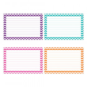"Border Index Cards, 3"" x 5"" Lined, Chevron Asst., 75ct"