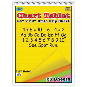 "Brite Chart Tablet, 24"" x 32"", 1-1/2"" Ruled, Assorted Colors, 25 Sheets"