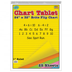 """Brite Chart Tablet, 24"""" x 32"""", 1"""" Ruled, Assorted Colors, 25 Sheets"""
