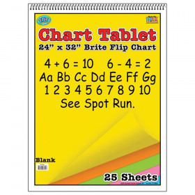 "Brite Chart Tablet, 24"" x 32"", Unruled, Assorted Colors, 25 Sheets"
