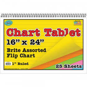 """Brite Chart Tablet, 16"""" x 24"""", 1"""" Ruled, Assorted Colors, 25 Sheets"""