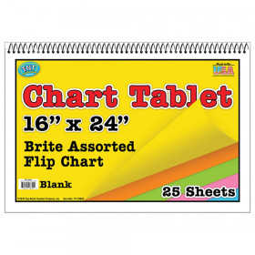 "Brite Chart Tablet, 16"" x 24"", Blank, Assorted Colors, 25 Sheets"