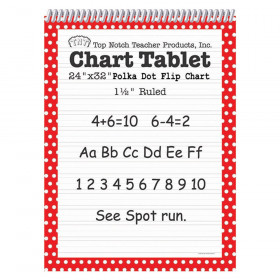 "Chart Tablet, 24"" x 32"", 1-1/2"" Ruled, Red Polka Dot, 25 Sheets"