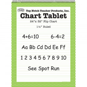 "Chart Tablet, 24"" x 32"", 1-1/2"" Ruled, Green Polka Dot, 25 Sheets"