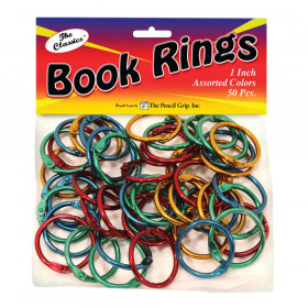 Book Rings, Assorted colors, Pack of 50